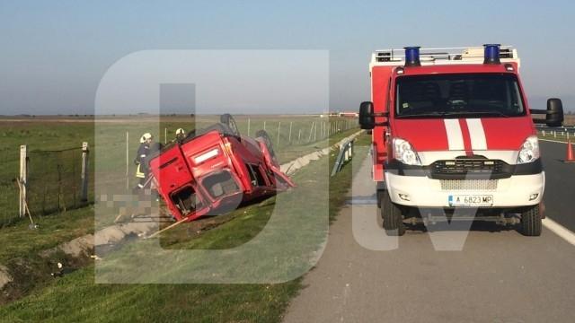 """Нов тежък пътен инцидент е станал на магистрала """"Тракия"""" днес."""