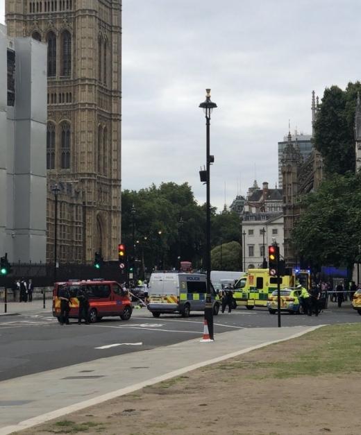 ола се вряза в оградата на Уестминстърския дворец, където се