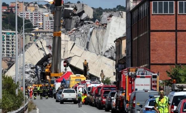 """Спасително-издирвателната операция за изчезналите след рухването на моста """"Моранди"""" на"""
