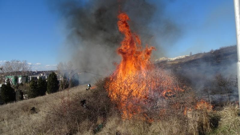 Вчера на много места в Монтанско са горели сухи треви.
