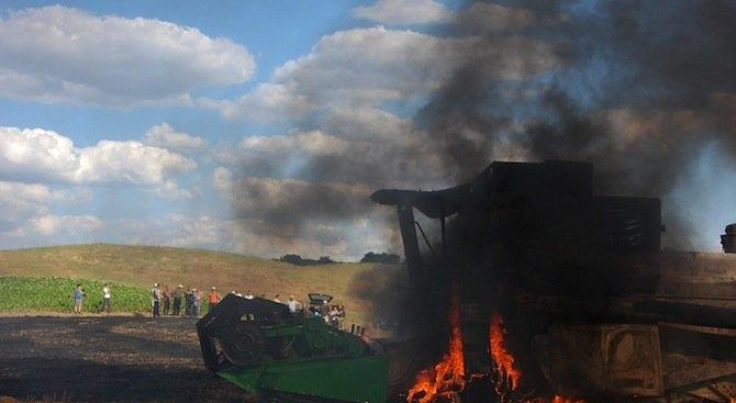 Комбайн е горял в монтанско село, съобщиха от пресцентъра на