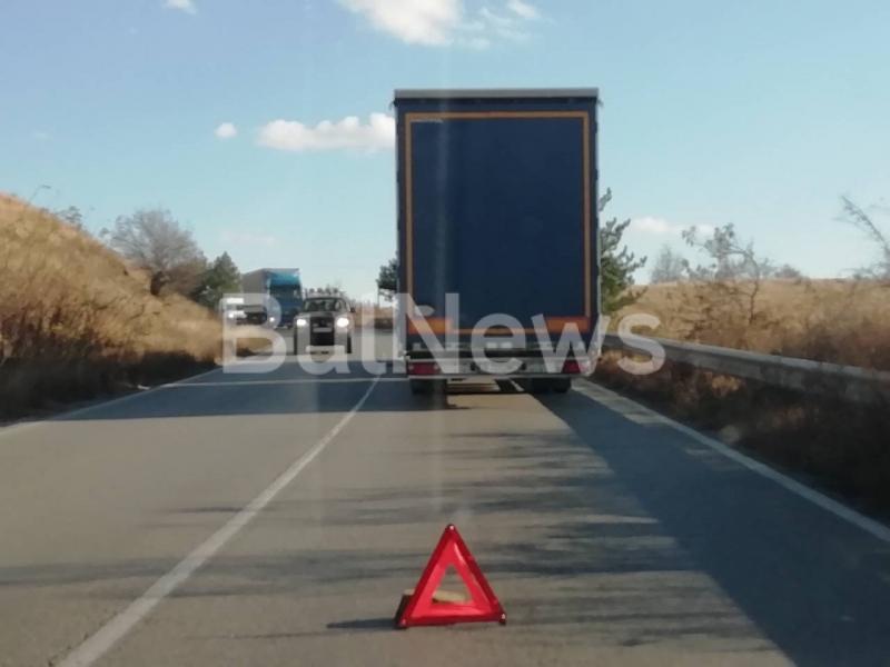 Румънски ТИР е аварирал на главен път Е-79 между Монтана