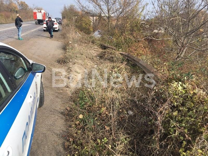 Преди минути възрастен шофьор е катастрофирал на Оряховско шосе до